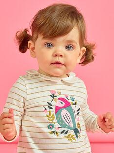Gestreiftes Baby-Mädchen-T-Shirt mit Vogel- und Blumenmuster MIKABRA / 21WG09I1BRA001