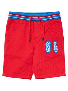 Rote Bermuda-Shorts mit Gummizug und gestreiftem Hosenbund JOGRABER1 / 20S902E1BERF505
