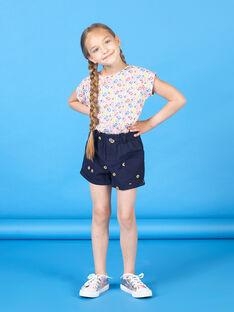 Marineblaue Shorts mit Blumendruck für Mädchen LAHASHORT / 21S901X1SHO070