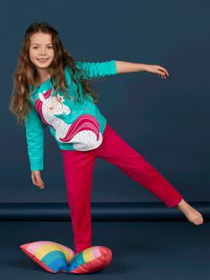 Kinder-Pyjama Mädchen türkis Einhorn-Design LEFAPYJLIC / 21SH1153PYJ209